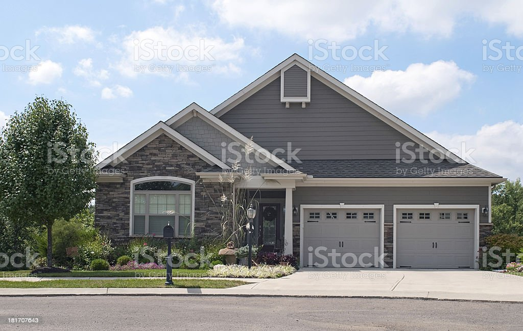 Small House with Two Car Garage stock photo