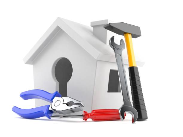 Small house with work tools - foto stock