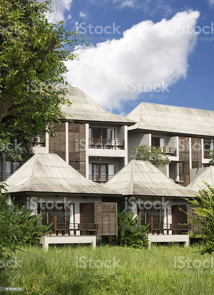 Small houses standing ina raw in a hotel stock photo