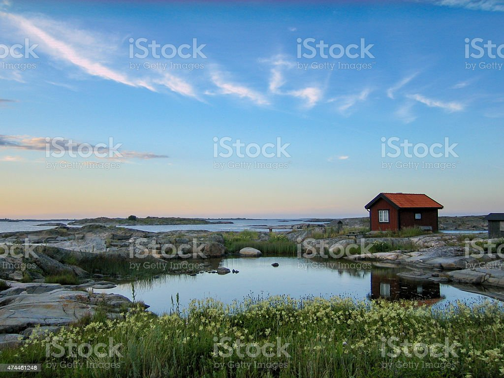 Small hut in the outer acrhipelago stock photo