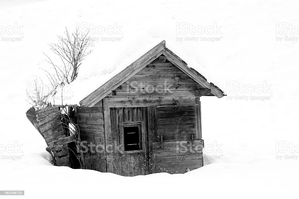 Small hut in winter royalty-free stock photo