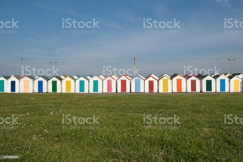 Small Huts with Colorful Doors and Roofs stock photo