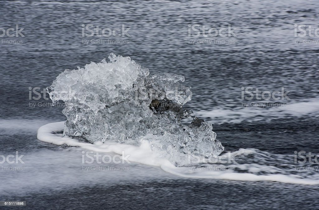 Small Ice Block at the Beach, Iceland stock photo