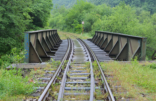 Railway tracks and small iron bridge over trench in Ibar george, wet after heavy spring rain, against lush spring vegetation background