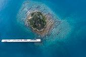 A small island and a beautiful sea