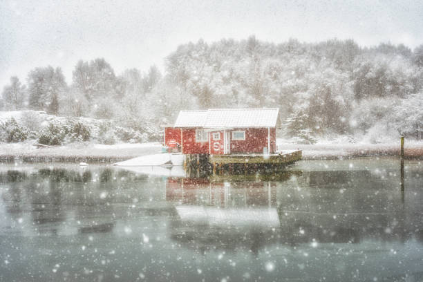 Small Island cottage in winter stock photo