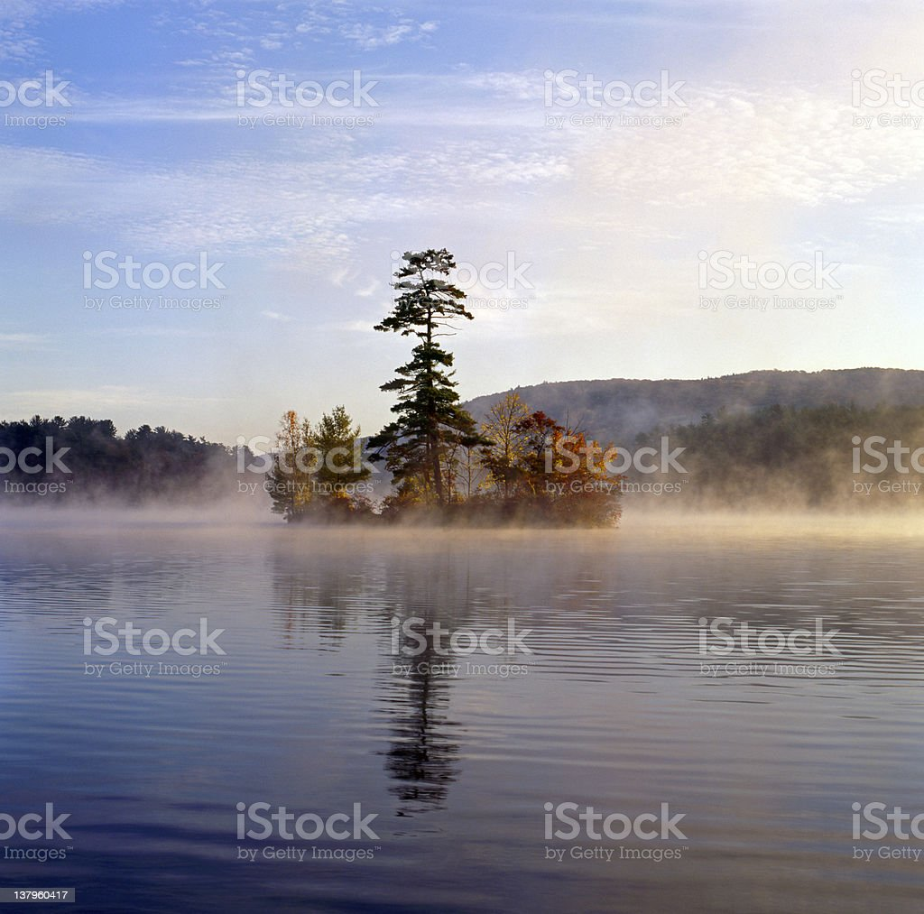 Small island in Autumn on Lake George stock photo