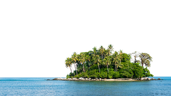 Small island in tropical andaman sea on white background.