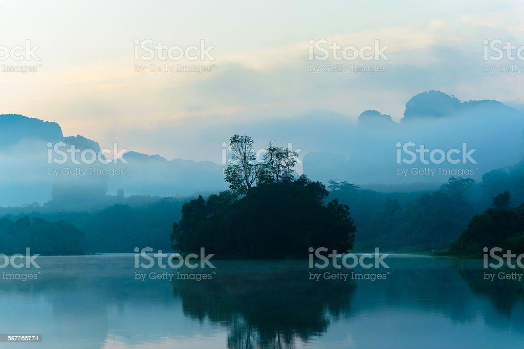 Small Island On A Slightly Foggy royalty-free stock photo