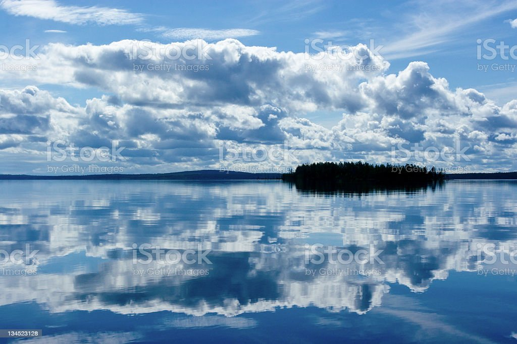 Small Island on Lake stock photo