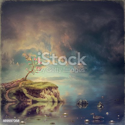 478539432istockphoto Small island with a tree of sakura on the river 469997058