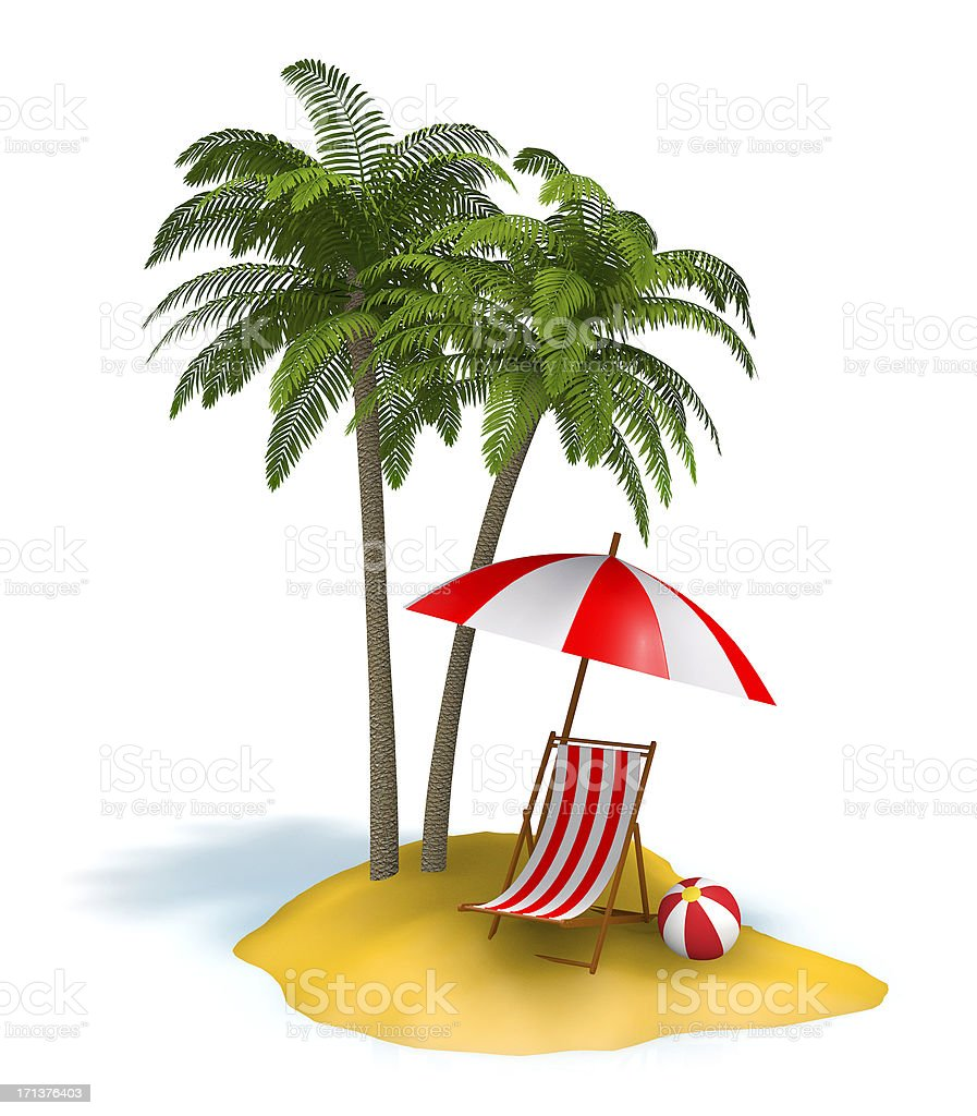 Small island with palm tree and beach chair stock photo
