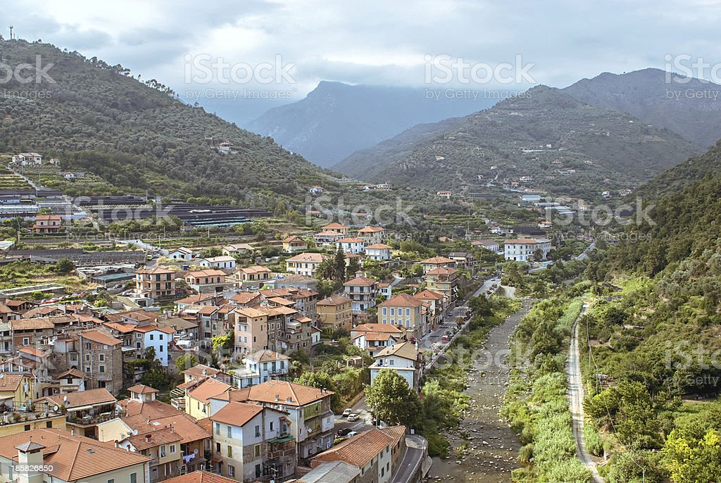 Small italian town in Liguria stock photo