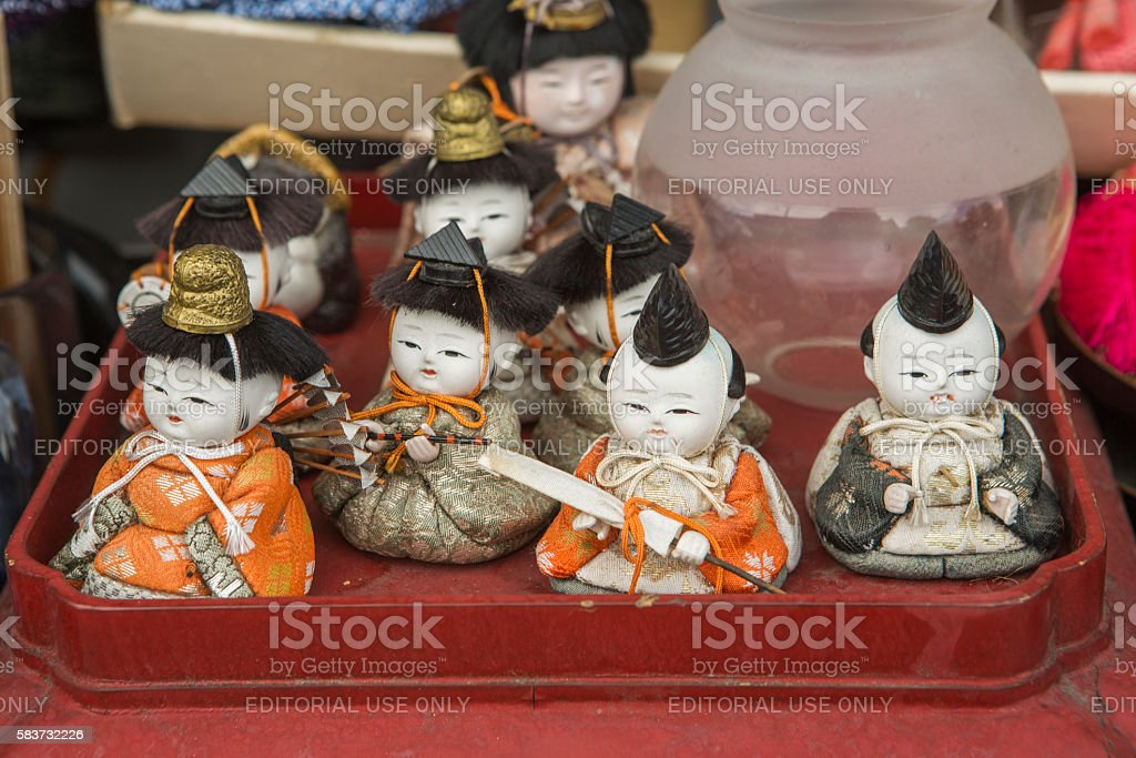 small japanese warrior decoration at flea market in kyoto japan stock photo