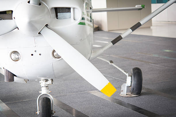 Small jet and propeller stock photo
