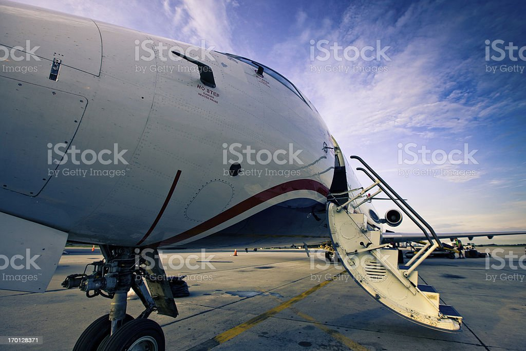 Small Jet Boarding Stairs stock photo