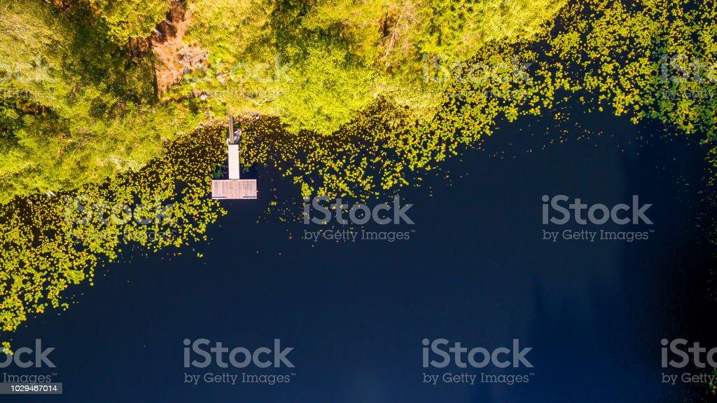 Liten brygga från ovan bildbanksfoto