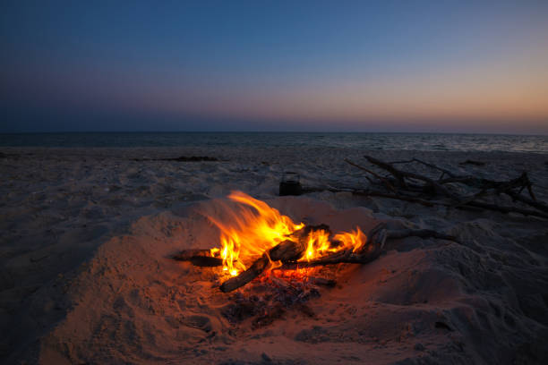 small kettle stands next to a blazing bonfire - falò spiaggia foto e immagini stock