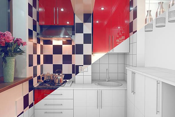 small kitchen interior half finished - küchenorganisation stock-fotos und bilder