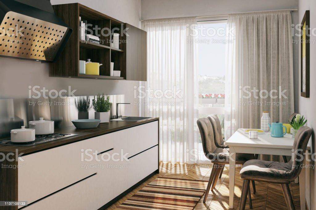 Kleine Küche Mit Esstisch Stockfoto und mehr Bilder von ...