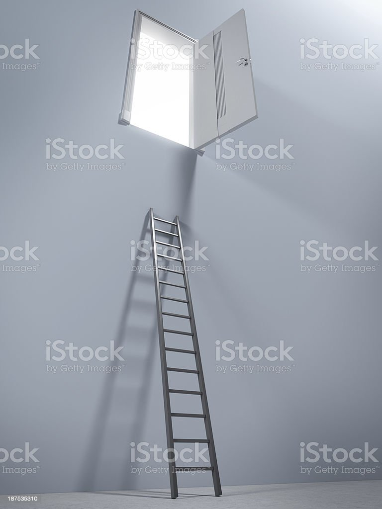 Small ladder and door stock photo