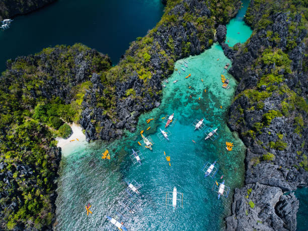 small lagoon in palawan - philippines stock photos and pictures