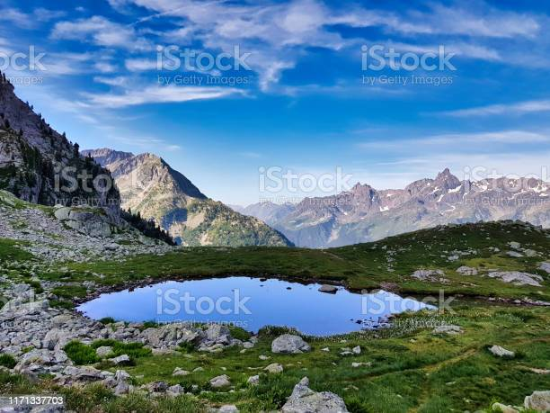 Small Lake In Front Of The Grand Pic De Belledonne Stock Photo - Download Image Now