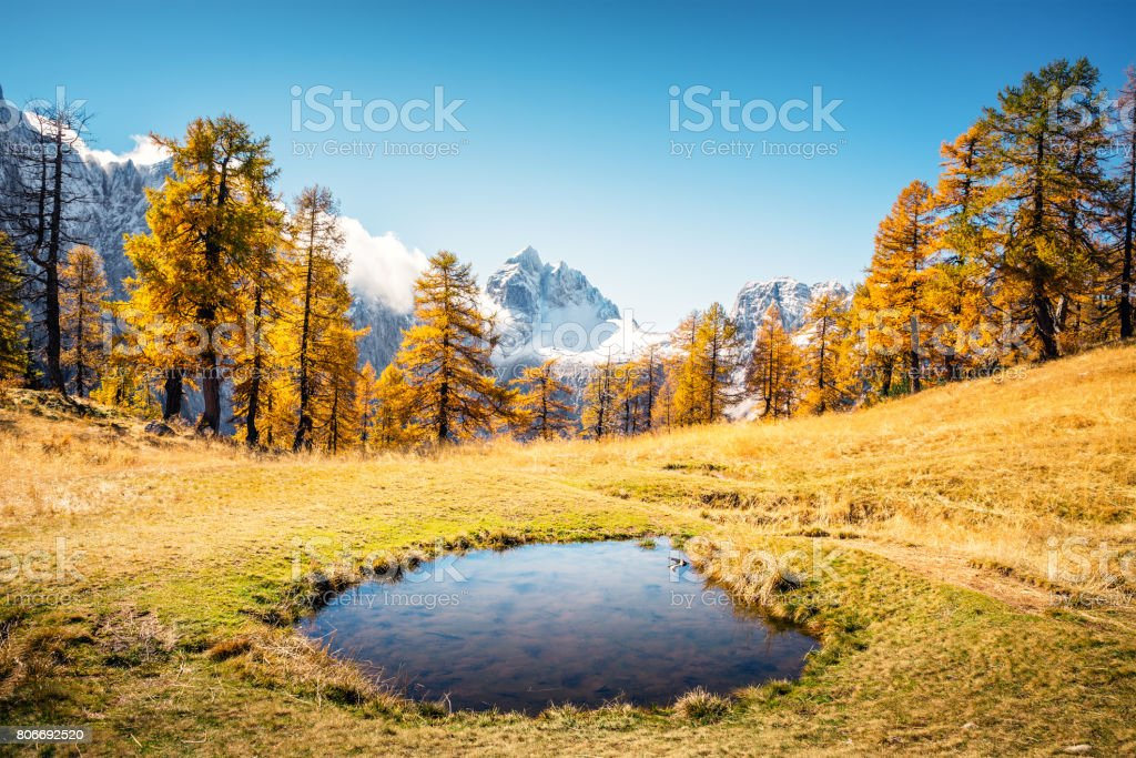 Small Lake In The Mountains stock photo