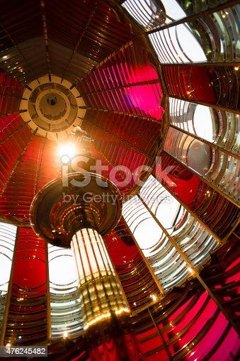 172424642 istock photo Small Lamp Inside Fresnel Lens Historical Lighthouse Nautical Beacon 476245482