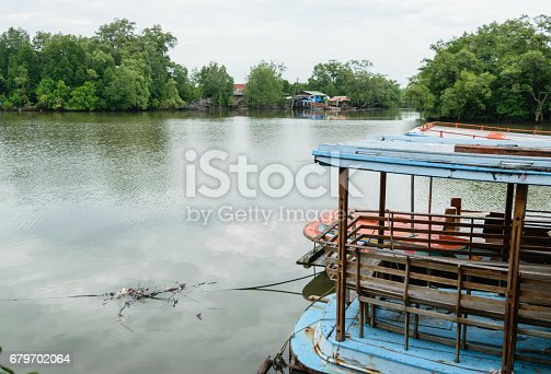 Small local ferry boat docking along the river, waiting for passengers.