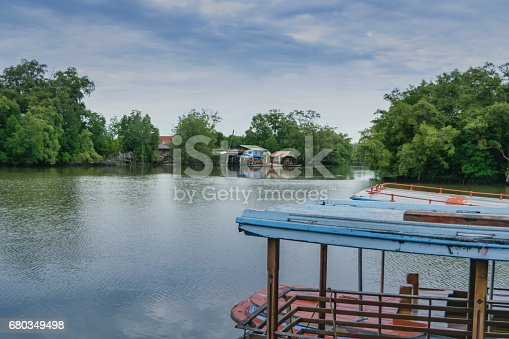 Small local ferry boat docking along the river, waiting for passengers