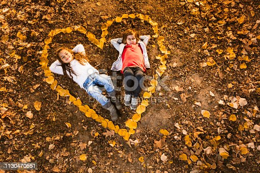 Above view of relaxed little couple lying inside of a heart shape during autumn day in nature. Copy space.