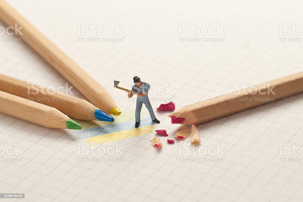 Small lumberjack sharp pencils. School concept stock photo