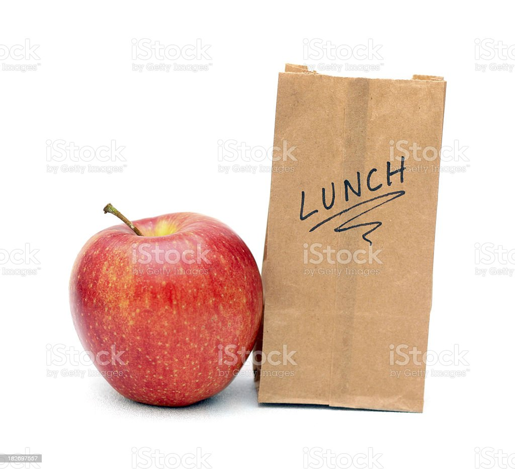 Small Lunch Bag, Big Apple - Portion Control stock photo