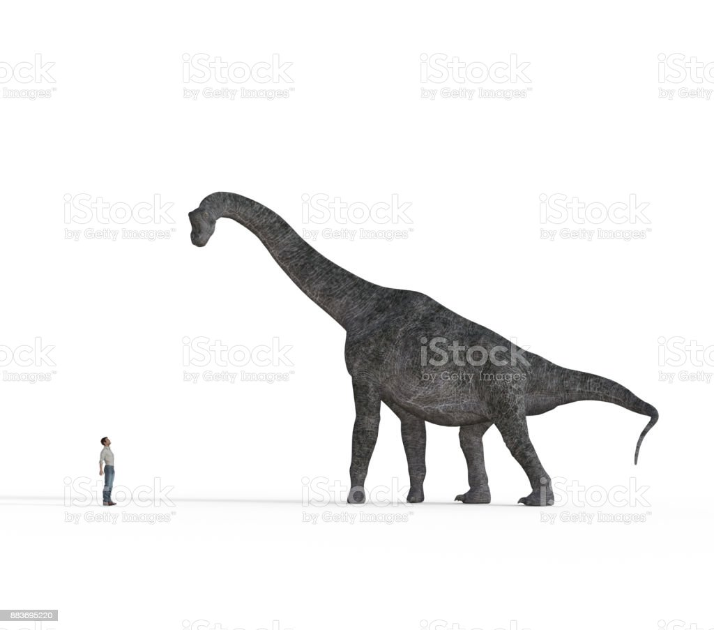 Small man face to face with big brachiosaurus dinosaurs stock photo