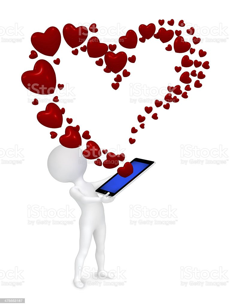 Small man received message as a heart by phone royalty-free stock photo