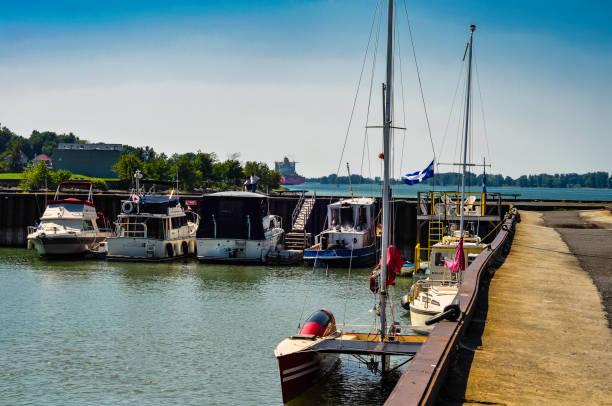 A small marina for small boats. stock photo