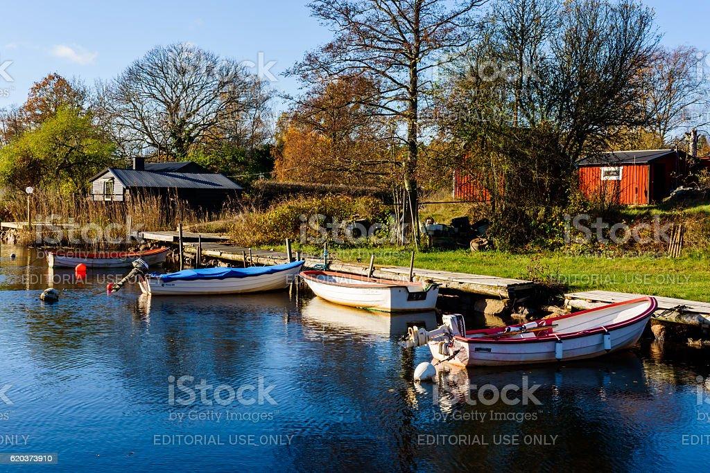 Small marina in fall foto de stock royalty-free