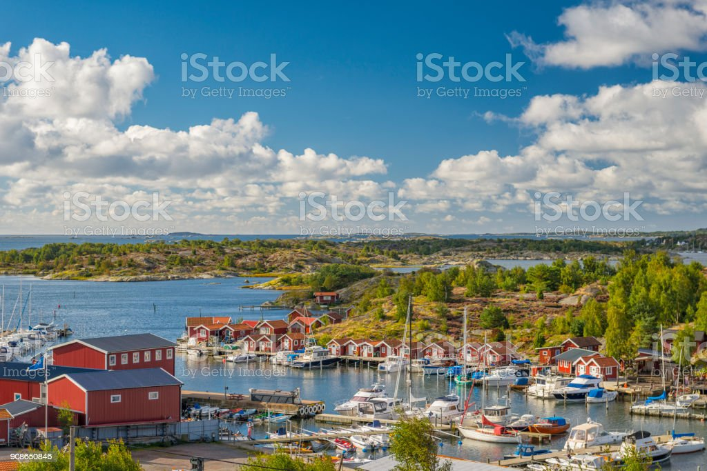 Small marina on Swedish west coast stock photo