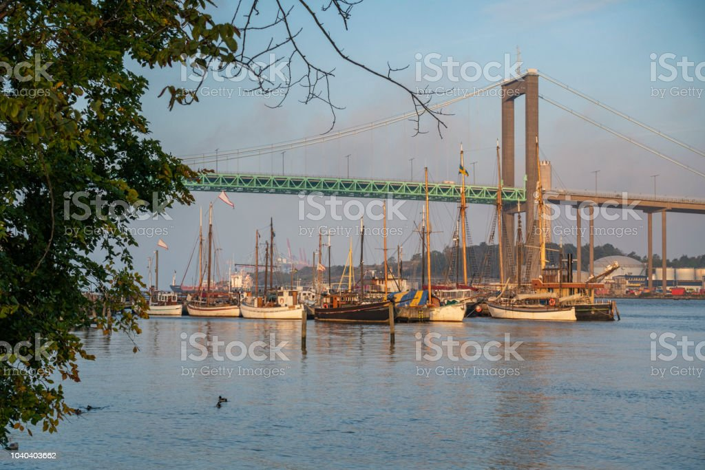 Small marina with old wooden ships in Gothenburg stock photo