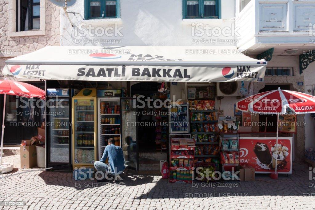 A small market in Alacati Province stock photo
