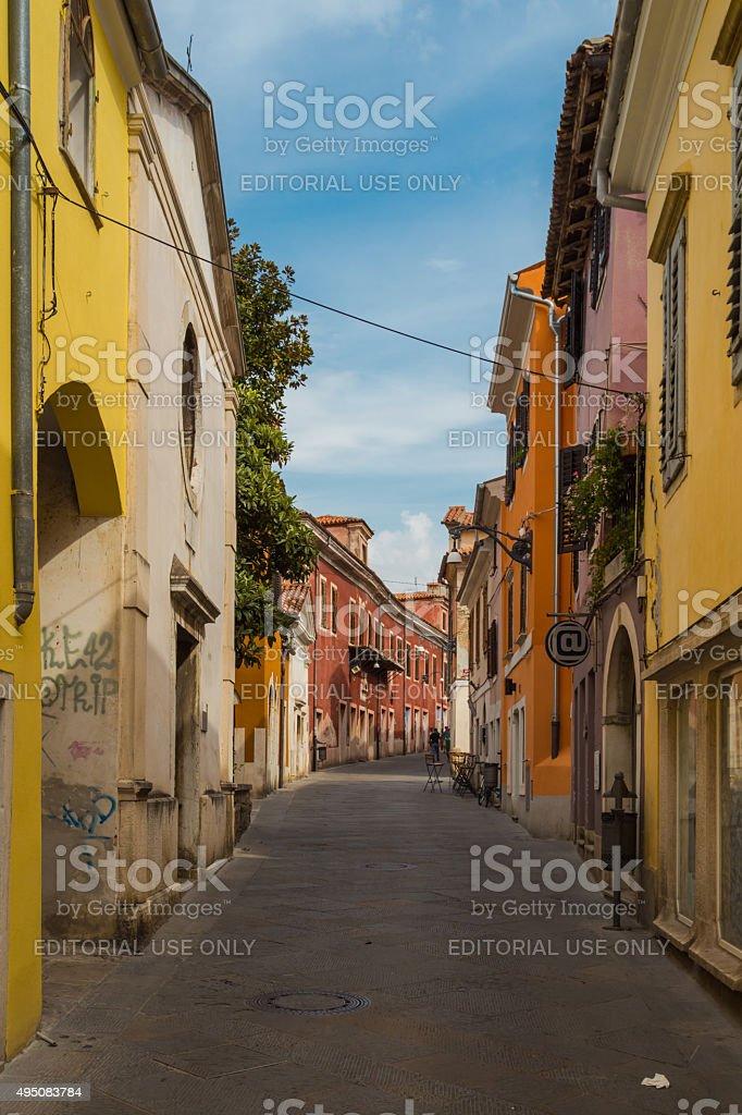 Small medieval street. stock photo