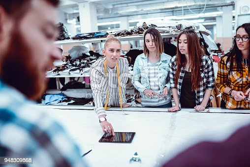1083251186istockphoto Small Meeting About the New Project in Textile Factory 948309868
