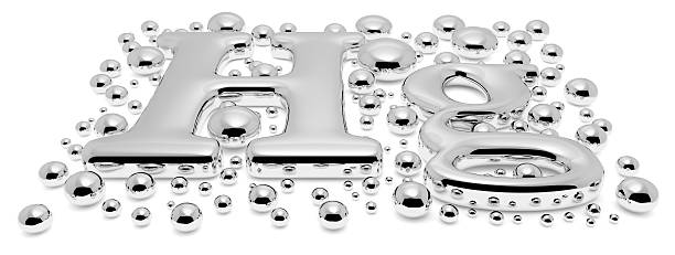 small mercury (hg) metal sign with drops perspective - mercury metal stock photos and pictures