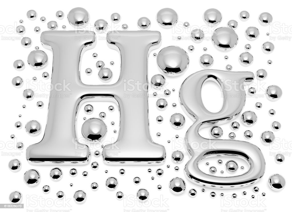 Small mercury (Hg) metal sign with small drops stock photo