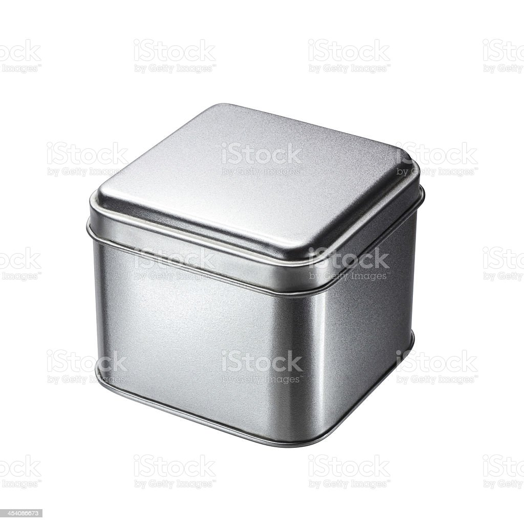 Small Metal box isolated on a white background stock photo