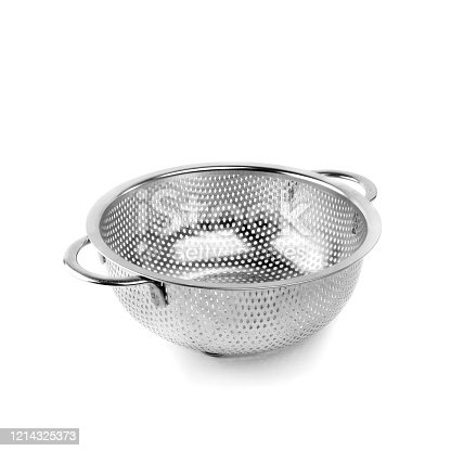 A small metal colander on a white isolated background. Kitchen accessories.