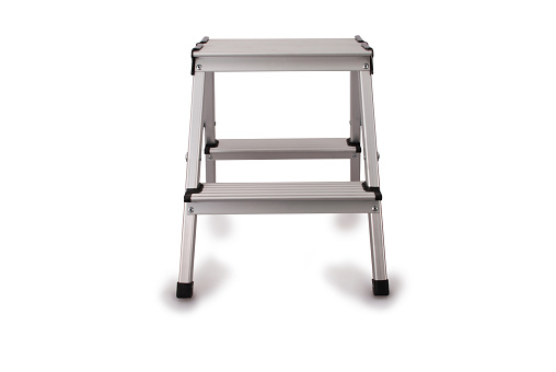 Small metal ladder isolated on white background. Photo with clipping path