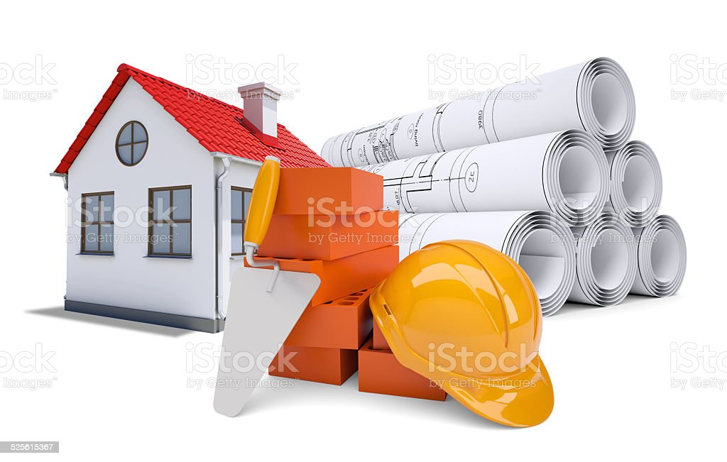 Small model house with red roof near scrolls of architectural stock photo