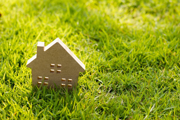 Small model of house over green grass dueling sunlight. stock photo